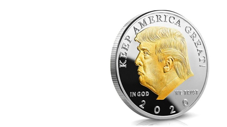 GOLD AND SILVER PLATED PRESIDENT TRUMP 2020 COIN | AnyImage.io