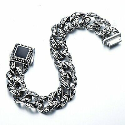 Chunky Heavy Mens Stainless Steel Curb Chain Bracelet 8.66-Inch Old Metal Finish  | eBay